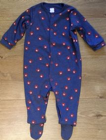 NEXT UNISEX DENIM BLUE BABY CAT PRINT SLEEPSUIT 3M TO 6-9 MONTHS